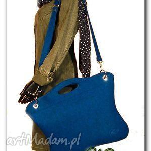 Oryginalna, uniwersalna niebieska torba, torebka, laptop, kobieta, filc