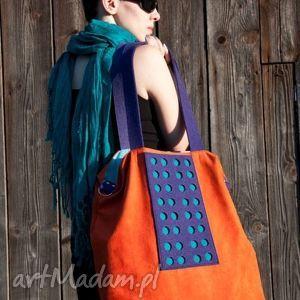 ręcznie robione na ramię torba hobo xxl - pomarańcz, fiolet, szmaragd