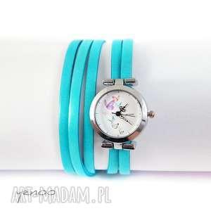 Prezent Zegarek, bransoletka - Motyle niebieski, zegarek, bransoletka, rzemień