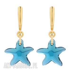 złote kolczyki z rozgwiazdami swarovski® crystal - kryształy