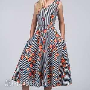 Sukienka DORA Total Midi Lukrecja, paski, kwiaty, total, łydki, midi, kieszenie