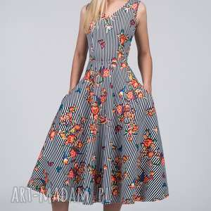 sukienki sukienka dora total midi lukrecja, paski, kwiaty, total, łydki