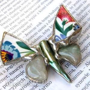 handmade broszki broszka: motyl folk z awenturynem