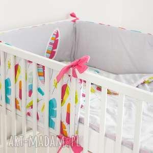 ochraniacz do łóżeczka piórkowy las, nałóżeczko, piórka, dla-dziewczynki