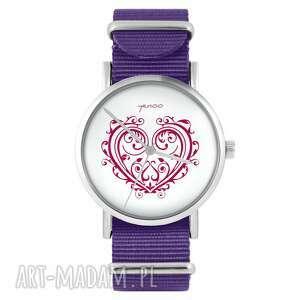 zegarki zegarek - serce ornamentowe fioletowy, nylonowy, zegarek, nylonowy