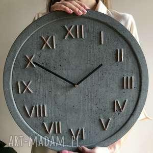 zegar ścienny betonowy handmade z betonu antracyt miedź cementowy elegancki