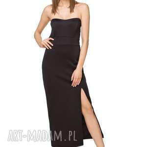 Ołówkowa sukienka maxi z rozcięciem T242, czarna, sukienka, elegancka,