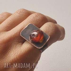 pierścionek z oksydowanej miedzi i kamienia /2/, pierścionek, oksydowana, miedz