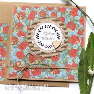 kartka ślubna :: handmade maki EKO, maki, kwiaty