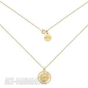 złoty naszyjnik z okiem sotho - pozłacany, medalion masywny, oko