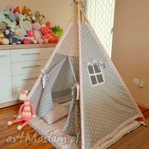 pokoik dziecka teepee szary w białe gwiazdki, namiot, tepe, dziecko, teepee, wigwam