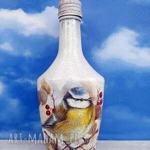 ptaki sikorka dekoracja z kolekcji vögel im winter, butelka, prezent