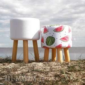 Pufa Biała Gładka - 45 cm, puf, taboret, ryczka, vintage, siedzisko,