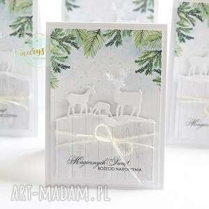 świąteczny jelonki - komplet trzech kartek, kartka, karta świąteczna, kartka