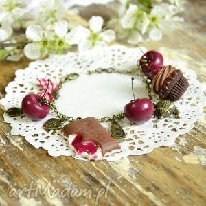 bransoletki wiśniowo-czekoladowa bransoletka, wiśnia, babeczka, fimo, modelina