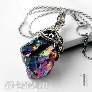 Prezent Frozen V - srebrny naszyjnik z kwarcem tytanowym , kwarc, tytanowy, srebro