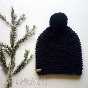 czarna czapka merino, na-drutach, czarnaczapka, unisex, dodatki