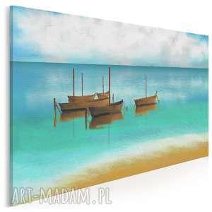 obraz na płótnie - łodzie pejzaż morze modny 120x80 cm 91401, łodzie, łódź