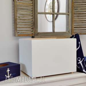 pudełko do przechowywania białe, drewniane, skrzynie, pojemniki, wystrój