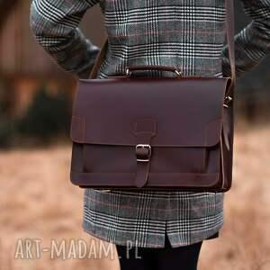 crosna teczka vintage iii w kolorze burgundu, skóra naturalna, skórzana torba