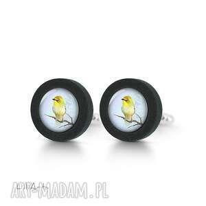 LiliArts, żółty ptaszek - drewniane spinki do mankietów, ptak naturalne, prezent