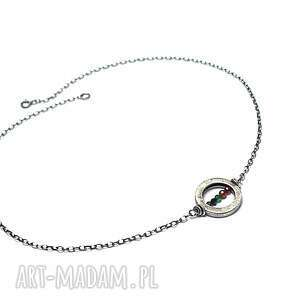 industrial /karma/ vol 4 - naszyjnik, srebro oksydowabe, koło, rubin, granat