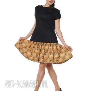Sukienka pawie oczko mała czarna Peacocktail Dress Gold, jesień, złoto, designerska