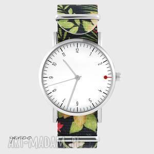 zegarek - simple elegance, biały kwiaty, nato, zegarek, bransoletka, nato