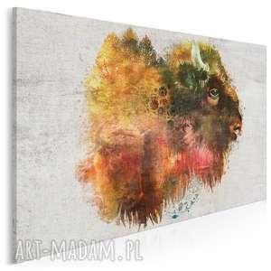 obraz na płótnie - żubr folklor 120x80 cm 30401, żubr, folklor, łowicki