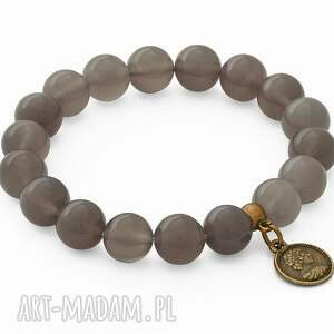 lavoga gray agate with coin pendant, agat, moneta