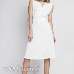 Sukienka w stylu retro, SUK125 ecru, kopertowa, biała, wesele, zmysłowa, kobieca