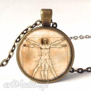 leonardo da vinci - medalion z łańcuszkiem - antyczny, prezent