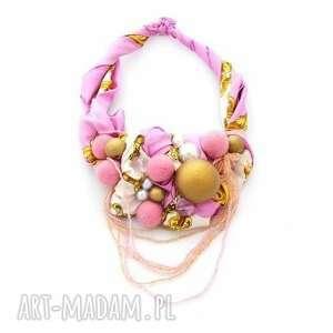 pink-pong naszyjnik handmade - naszyjnik, kolia, róż, różowy, złoty