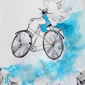 Grafika akwarelą i piórkiem Anioł na rowerze rozsypujący spokój artystki A. Laube
