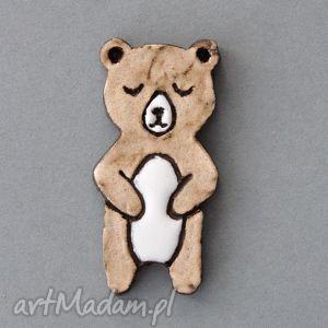 handmade broszki misio-broszka ceramiczna