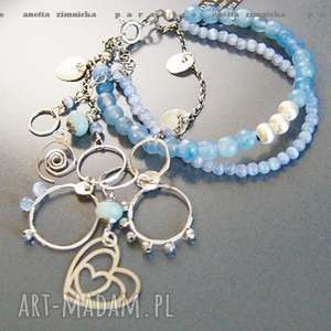 srebro bransoleta - w pastelowych błękitach, jadaity, kwarce, zawieszki