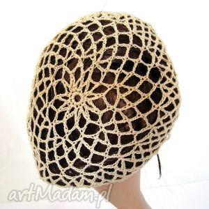 ręczne wykonanie czapki plażowa siatka beżowa
