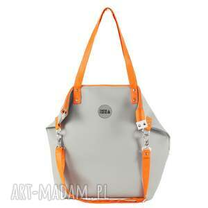 na ramię torba worek waterproof orange grey, worek, manamana, handmade, prezent