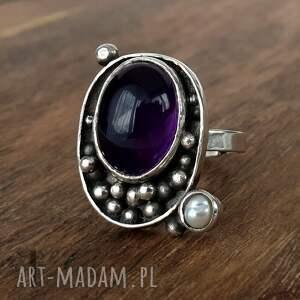 sunrise srebrny pierścionek z ametystem, pierścionek srebrny