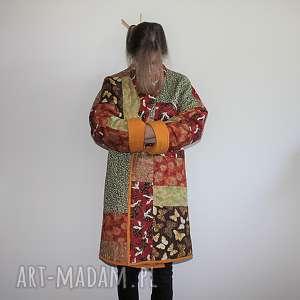 płaszcz patchworkowy długi - waciak, płaszcz, patchwork, orientalny