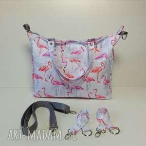 Torba do wózka, torba na ramię, torba-do-ręki, torba-do-wózka, listonoszka, flamingi