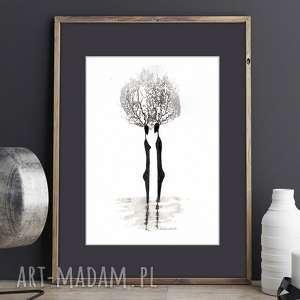 malowany ręcznie mysli moje grafika czarno-biała, ilustracja, plakat a4, obrazy