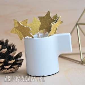 handmade ozdoby świąteczne złote gwiazdeczki, pikery