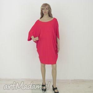 sukienka cudak czerwona, sukienka, kimono, dzianina, wiskoza, sukienki ubrania