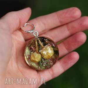 naszyjnik z żywicy i srebra, jesienna polana - żywica, jesień, natura, kwiaty