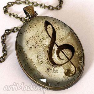 kocham muzykę - owalny medalion z łańcuszkiem, prezent muzyka