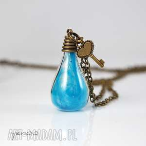 naszyjnik - niebieskie piórko, naszyjnik, medalion, kluczyk, unikatowy