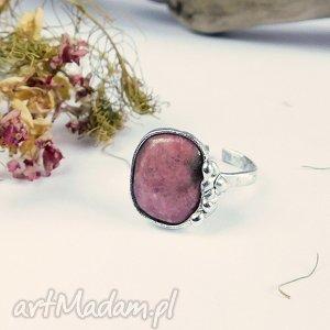 Rodonit - pierścionek, rodonit, różowy, miedź, regulowany