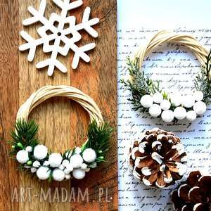 dekoracje mini wianek zimowy, wianek, miniwianek, choinka, stroik