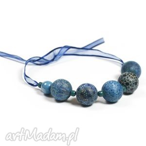 autorskie rysowane i malowane akwarelą korale, graficzne, błękit,kobalt - na